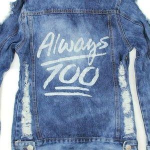 Thrill Womens ALWAYS 100% Distressed Jean Jacket